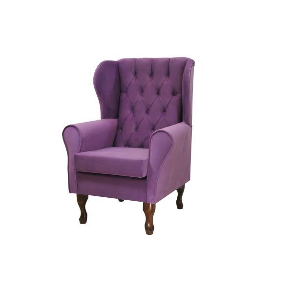 chesterfield ohrensessel violett